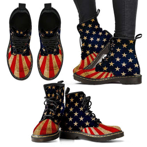 Designs by MyUtopia Shout Out:4th of July Vegan Suede Boots,Ladies / Ladies 5 (EU35),Lace-up Boots