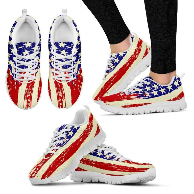 Designs by MyUtopia Shout Out:4th of July Waving U.S. Flag Running Shoes,Womens US5 (EU35) / Red/Off White/Blue,Running Shoes