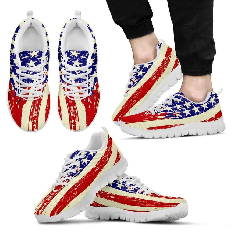 Designs by MyUtopia Shout Out:4th of July Waving U.S. Flag Running Shoes,Mens US5 (EU38) / Red/Off White/Blue,Running Shoes