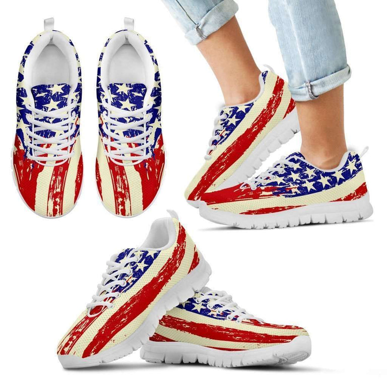 Designs by MyUtopia Shout Out:4th of July Waving U.S. Flag Running Shoes,11 CHILD (EU28) / Red/Off White/Blue,Running Shoes