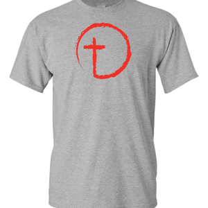Designs by MyUtopia Shout Out:Abstract Cross Circle Adult Unisex T-Shirt,S / Athletic Heather,Adult Unisex T-Shirt