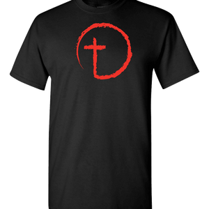 Designs by MyUtopia Shout Out:Abstract Cross Circle Adult Unisex T-Shirt,S / Black,Adult Unisex T-Shirt