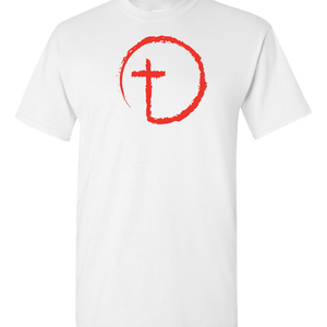 Designs by MyUtopia Shout Out:Abstract Cross Circle Adult Unisex T-Shirt,S / White,Adult Unisex T-Shirt