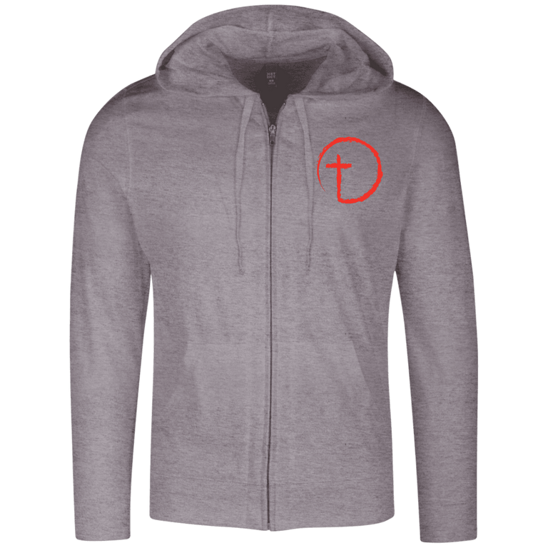 Designs by MyUtopia Shout Out:Abstract Cross Circle Embrodered Light-weight Full Zip Hoodie,X-Small / Dark Heather Grey,Zip Hoodie
