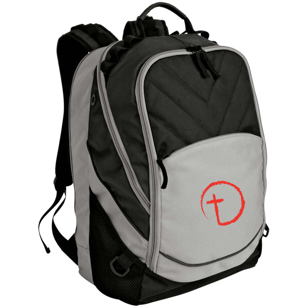 Designs by MyUtopia Shout Out:Abstract Cross Circle Embroidery Laptop Computer Backpack,Gray/Black / One Size,Bags