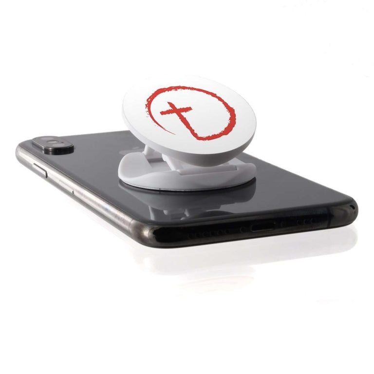 Designs by MyUtopia Shout Out:Abstract Cross Circle Hinged Phone Grip for Smartphones and Tablets,White,Pop Phone Grip