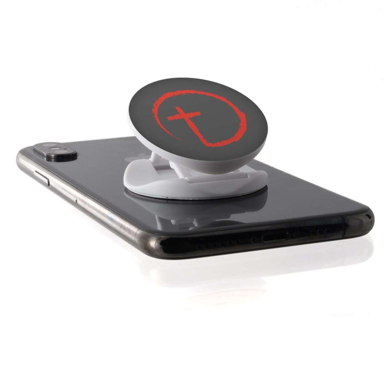 Designs by MyUtopia Shout Out:Abstract Cross Circle Hinged Phone Grip for Smartphones and Tablets,Grey,Pop Phone Grip