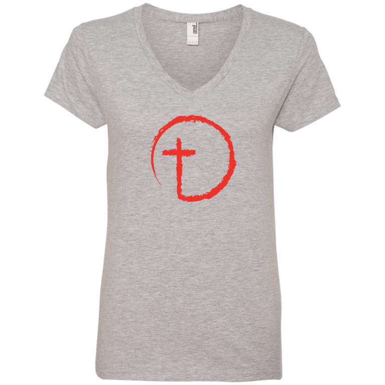 Designs by MyUtopia Shout Out:Abstract Cross Circle Ladies' V-Neck T-Shirt,Heather Grey / S,Ladies T-Shirts