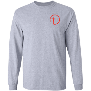 Designs by MyUtopia Shout Out:Abstract Cross Circle Long Sleeve Ultra Cotton T-Shirt,Sport Grey / S,Long Sleeve T-Shirts