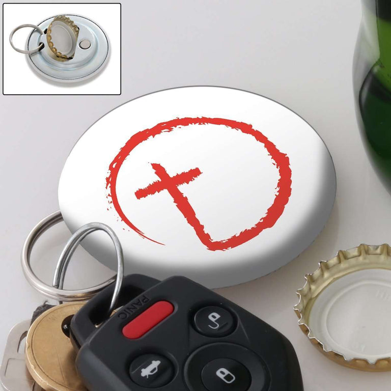 Designs by MyUtopia Shout Out:Abstract Cross Circle Magnetic Keychain and Bottle Opener,White,Keychain bottle opener