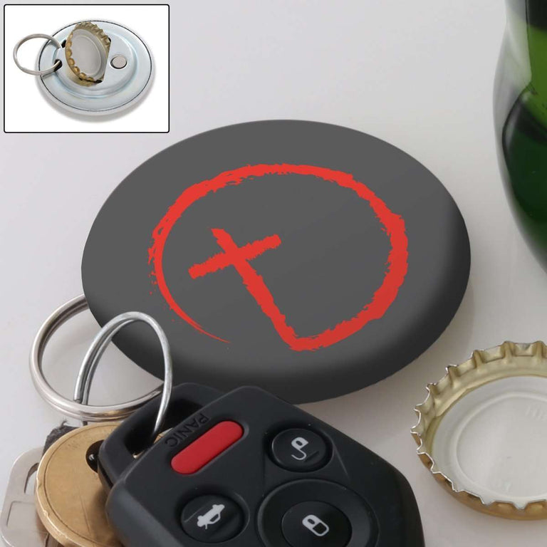 Designs by MyUtopia Shout Out:Abstract Cross Circle Magnetic Keychain and Bottle Opener,Grey,Keychain bottle opener