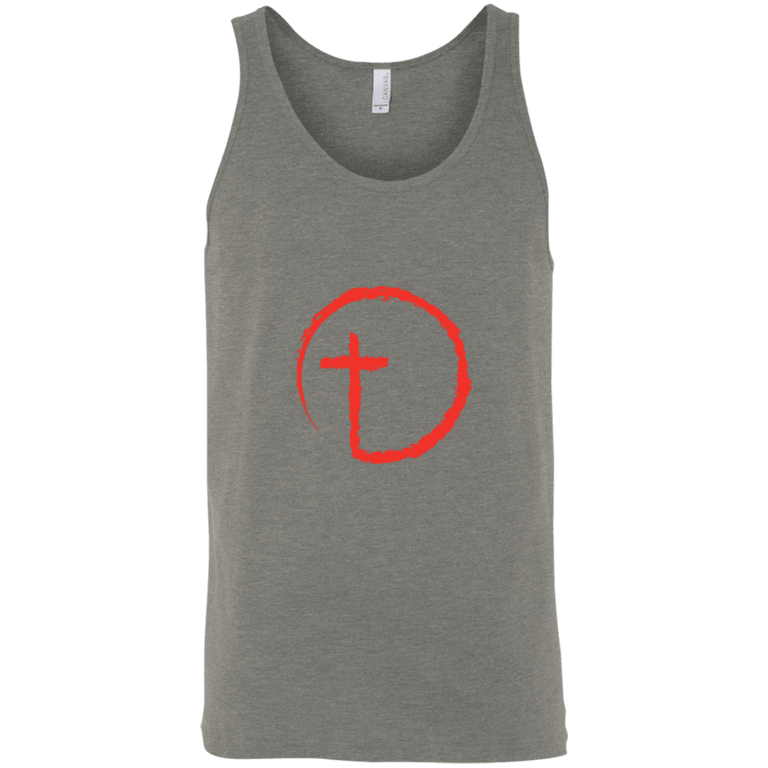 Designs by MyUtopia Shout Out:Abstract Cross Circle Unisex Tank,Grey Triblend / X-Small,Tank Tops