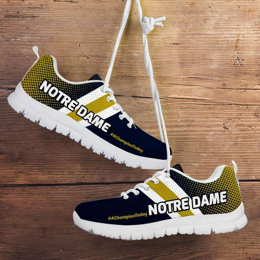 Designs by MyUtopia Shout Out:#AChampionToday Notre Dame Fan Running Shoes,Mens US 5 (EU38) / Blue/Gold,Running Shoes