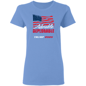 Designs by MyUtopia Shout Out:Adorable Deplorable Trump 2020 100% Preshrunk Cotton Ladies T-Shirt,Carolina Blue / S,Ladies T-Shirts