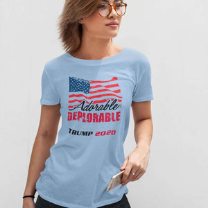 Designs by MyUtopia Shout Out:Adorable Deplorable Trump 2020 100% Preshrunk Cotton Ladies T-Shirt