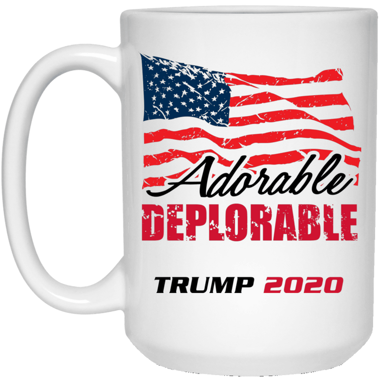Designs by MyUtopia Shout Out:Adorable Deplorable Trump 2020 15 oz. White Mug,White / One Size,Drinkware