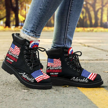 Load image into Gallery viewer, Designs by MyUtopia Shout Out:Adorable Deplorable Trump 2020 All-Season Lace-up Boots