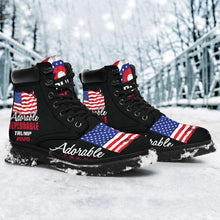 Load image into Gallery viewer, Designs by MyUtopia Shout Out:Adorable Deplorable Trump 2020 All-Season Lace-up Boots,Womens / US4.5 (EU35) / Black,Lace-up Boots