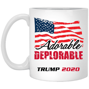 Designs by MyUtopia Shout Out:Adorable Deplorable Trump 2020 Ceramic Coffee Mug,11 oz / White,Ceramic Coffee Mug