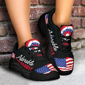 Designs by MyUtopia Shout Out:Adorable Deplorable Trump 2020 Chunky Walking Sneakers