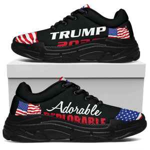 Designs by MyUtopia Shout Out:Adorable Deplorable Trump 2020 Chunky Walking Sneakers,Womens / Womens US5.5 (EU36) / Black,Chunky Sneakers