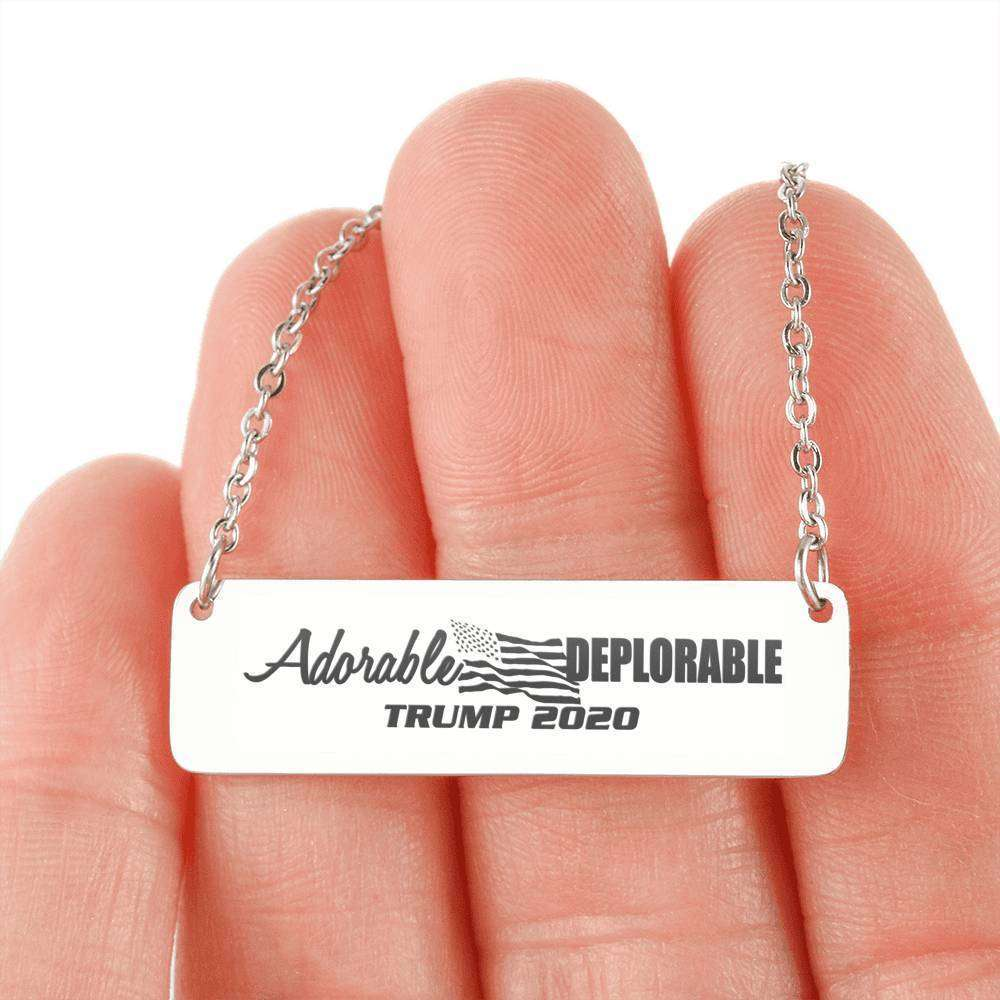 Designs by MyUtopia Shout Out:Adorable Deplorable Trump 2020 Engraved Personalized Bar Necklace,Stainless Steel Horizontal Bar Necklace / No,Jewelry