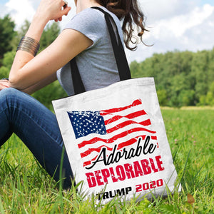 Designs by MyUtopia Shout Out:Adorable Deplorable Trump 2020 Fabric Totebag Reusable Shopping Tote