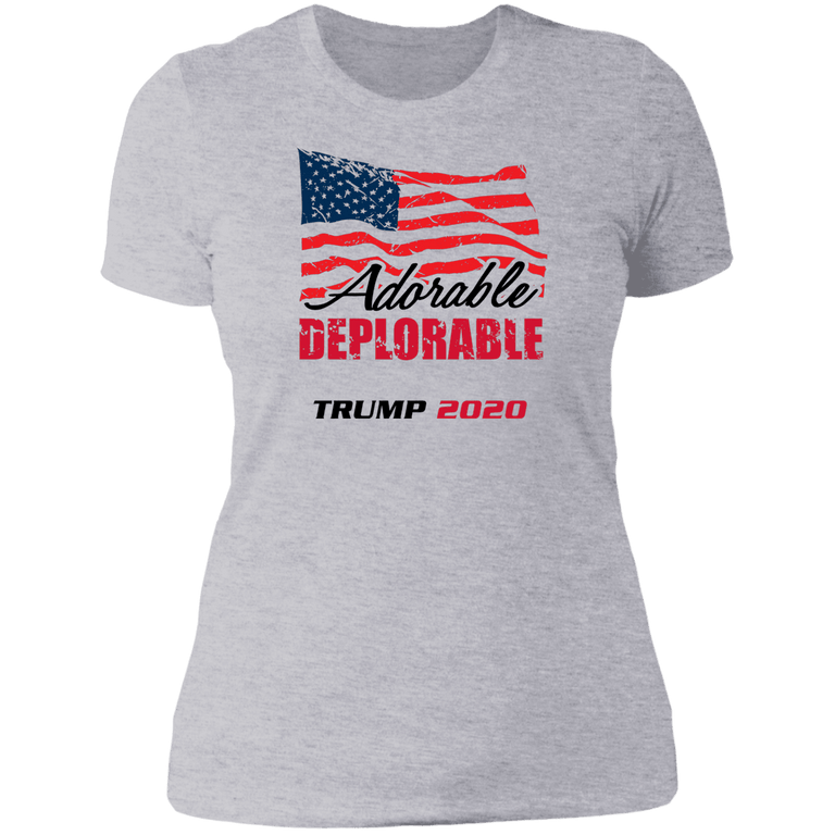 Designs by MyUtopia Shout Out:Adorable Deplorable Trump 2020 Ladies' Boyfriend T-Shirt,Heather Grey / X-Small,Ladies T-Shirts