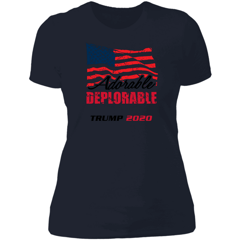 Designs by MyUtopia Shout Out:Adorable Deplorable Trump 2020 Ladies' Boyfriend T-Shirt,Midnight Navy / X-Small,Ladies T-Shirts