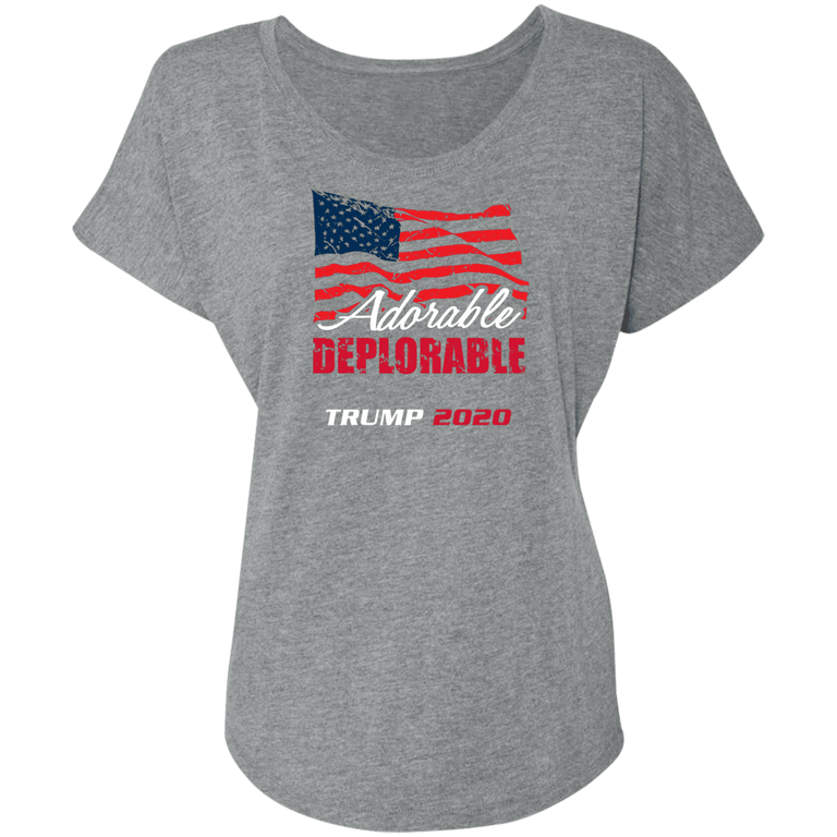 Designs by MyUtopia Shout Out:Adorable Deplorable Trump 2020 Ladies' Tri-blend Dolman Sleeve,X-Small / Premium Heather,Ladies T-Shirts