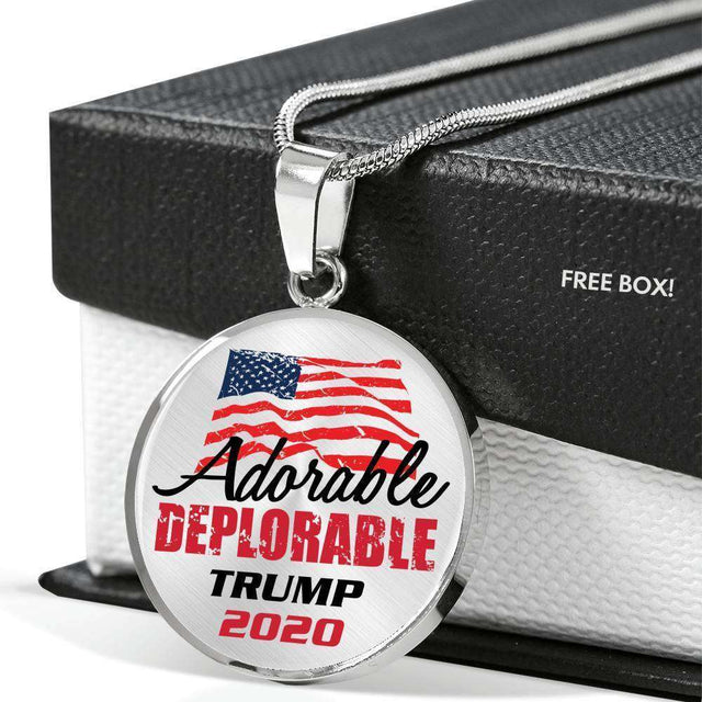 Designs by MyUtopia Shout Out:Adorable Deplorable Trump 2020 Personalizable Keepsake Stainless Steel Necklace