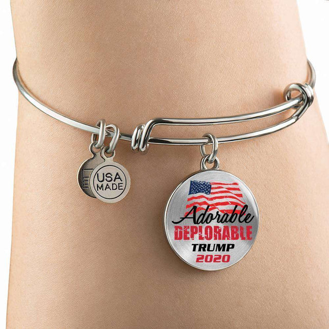 Designs by MyUtopia Shout Out:Adorable Deplorable Trump 2020 Personalizable Stainless Steel Keepsake Wire Bracelet,Silver / No,Wire Bracelet