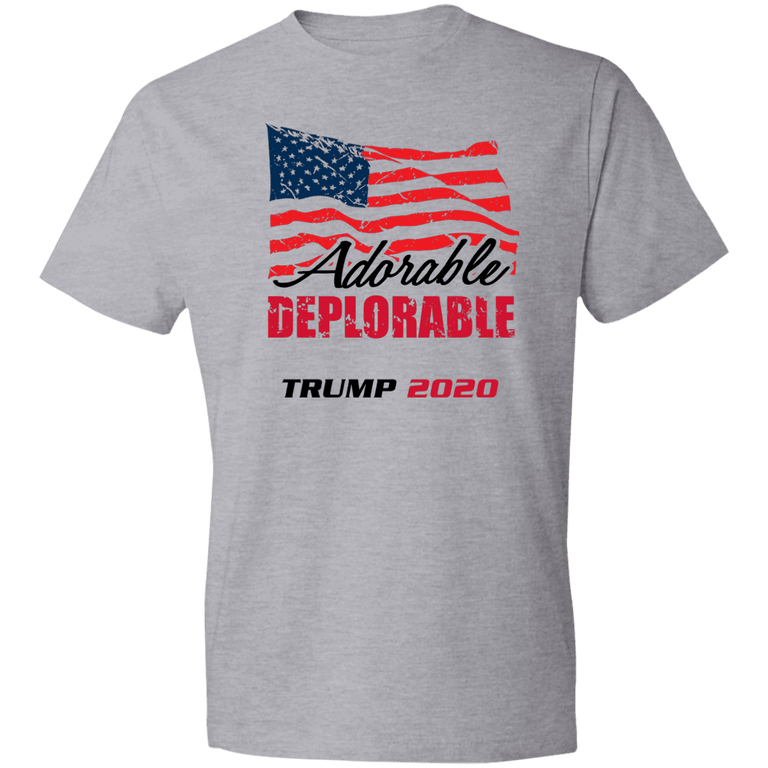 Designs by MyUtopia Shout Out:Adorable Deplorable Trump 2020 Premium Unisex T-Shirt,S / Heather Grey,Adult Unisex T-Shirt