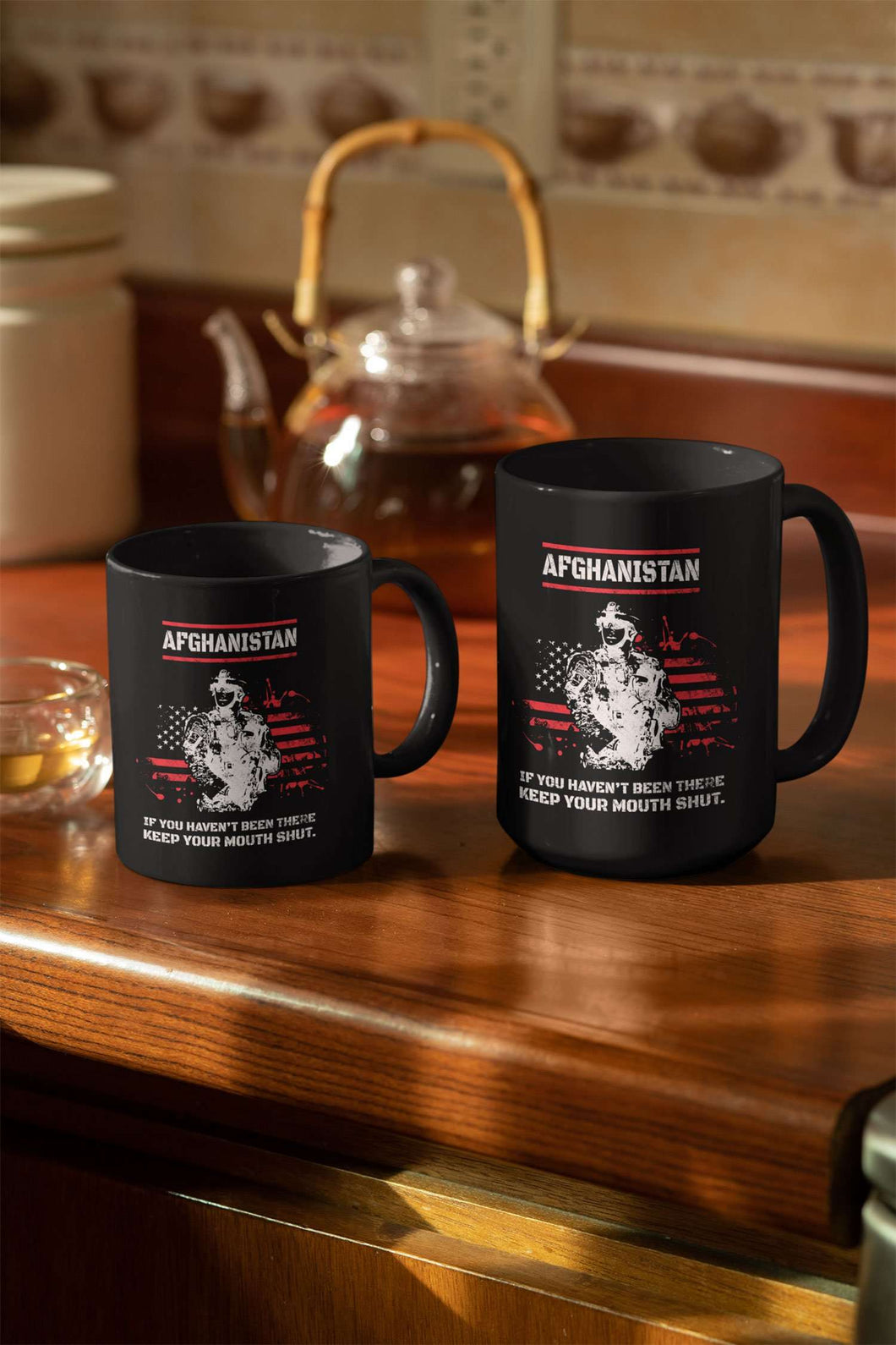Designs by MyUtopia Shout Out:Afghanistan Veteran Ceramic Coffee Mug - Black