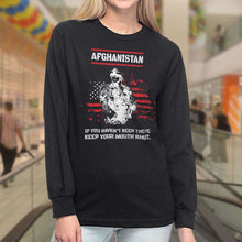 Load image into Gallery viewer, Designs by MyUtopia Shout Out:Afghanistan Veteran Long Sleeve Ultra Cotton T-Shirt