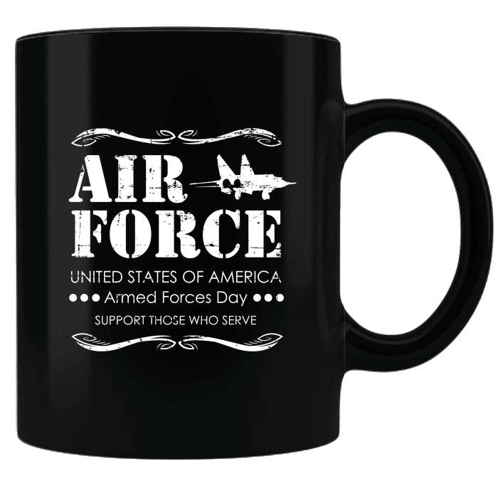 Designs by MyUtopia Shout Out:Air Force Armed Forces Day Support Those Who Serve Ceramic Coffee Mug