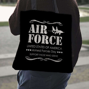 Designs by MyUtopia Shout Out:Air Force Armed Forces Day Support Those Who Serve Fabric Totebag Reusable Shopping Tote