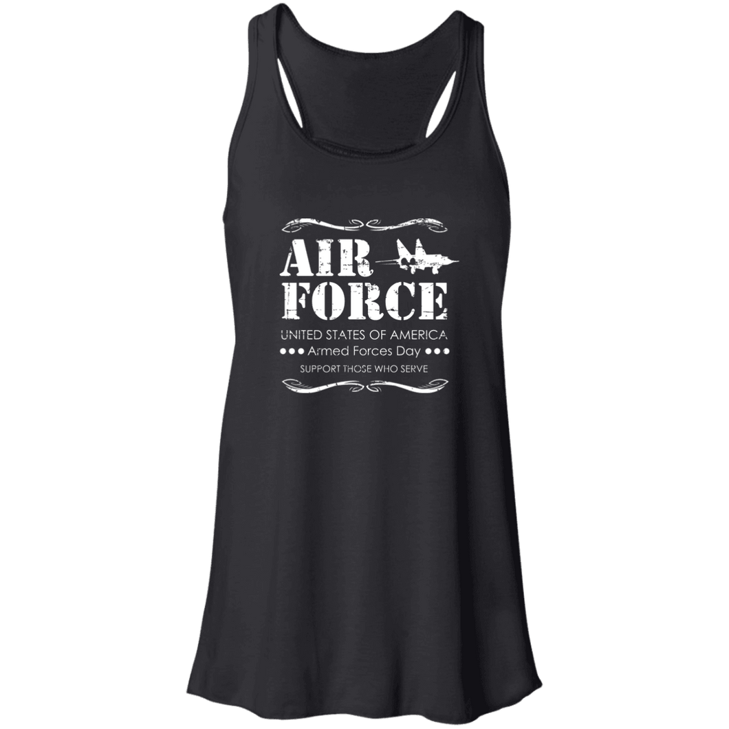 Designs by MyUtopia Shout Out:Air Force Armed Forces Day Support Those Who Serve Flowy Racerback Tank,X-Small / Black,Tank Tops