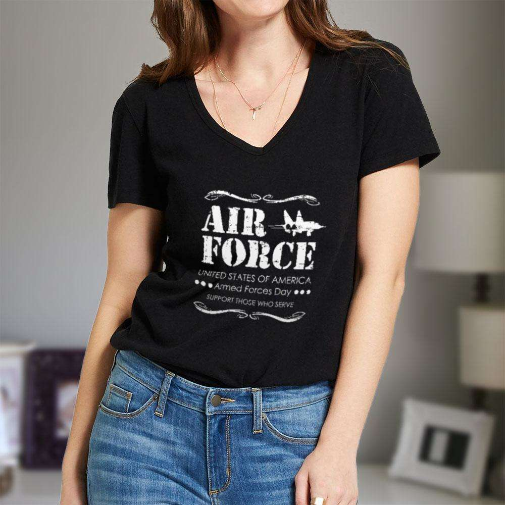 Designs by MyUtopia Shout Out:Air Force Armed Forces Day Support Those Who Serve Ladies' V-Neck T-Shirt