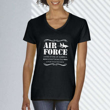 Load image into Gallery viewer, Designs by MyUtopia Shout Out:Air Force Armed Forces Day Support Those Who Serve Ladies' V-Neck T-Shirt