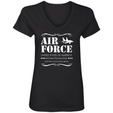 Load image into Gallery viewer, Designs by MyUtopia Shout Out:Air Force Armed Forces Day Support Those Who Serve Ladies' V-Neck T-Shirt,S / Black,Ladies T-Shirts