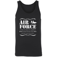 Load image into Gallery viewer, Designs by MyUtopia Shout Out:Air Force Armed Forces Day Support Those Who Serve Unisex Tank,X-Small / Black,Tank Tops