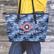 Load image into Gallery viewer, Designs by MyUtopia Shout Out:Air Force Blue Camouflage Faux Leather Totebag Purse (Medium),10 Tall x 16  x 5 inches / Blue Camoflauge,tote bag purse
