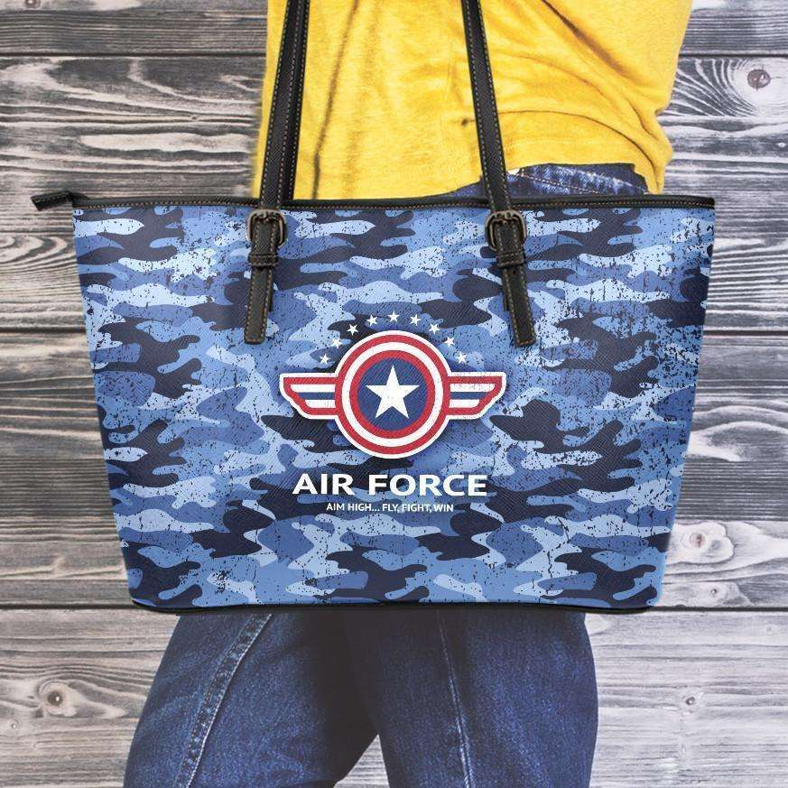 Designs by MyUtopia Shout Out:Air Force Blue Camouflage Faux Leather Totebag Purse (Medium),10 Tall x 16  x 5 inches / Blue Camoflauge,tote bag purse