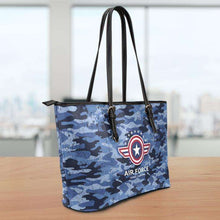 Load image into Gallery viewer, Designs by MyUtopia Shout Out:Air Force Blue Camouflage Faux Leather Totebag Purse (Medium)