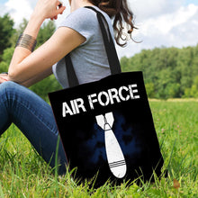 Load image into Gallery viewer, Designs by MyUtopia Shout Out:Air Force Bomb Fabric Totebag Reusable Shopping Tote