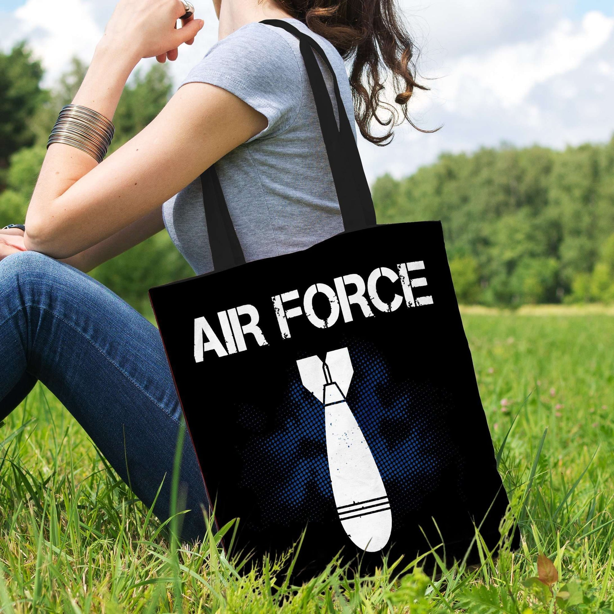 Designs by MyUtopia Shout Out:Air Force Bomb Fabric Totebag Reusable Shopping Tote