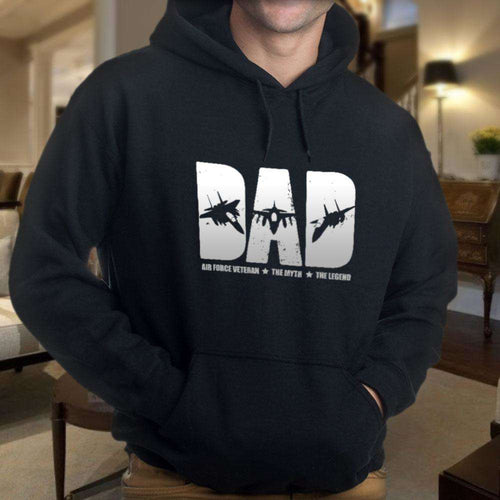 Designs by MyUtopia Shout Out:Air Force Dad Core Fleece Pullover Hoodie