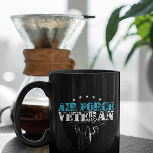 Designs by MyUtopia Shout Out:Air Force Veteran Ceramic Coffee Mug - Black,11 oz / Black,Ceramic Coffee Mug