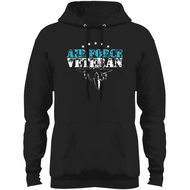 Designs by MyUtopia Shout Out:Air Force Veteran Core Fleece Pullover Hoodie,S / Jet Black,Pullover Hoodie